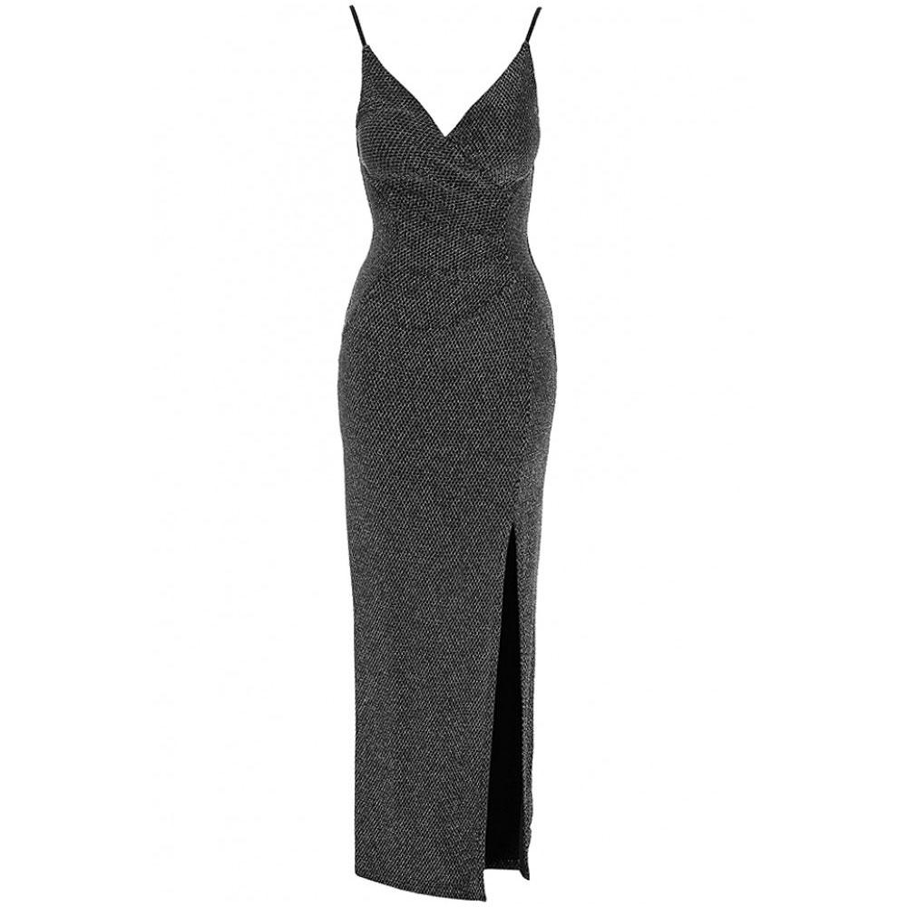 rochie neagra lunga sclipitoare