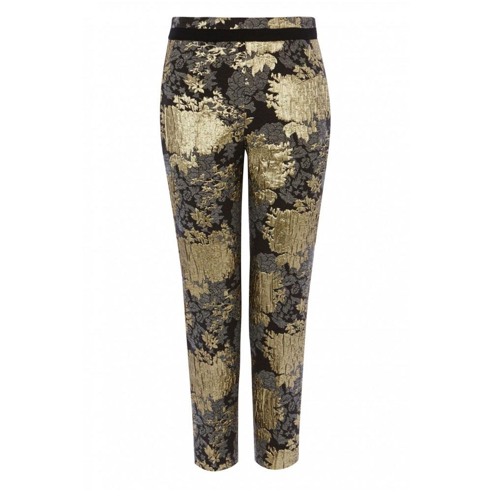 pantaloni cu flori aurii