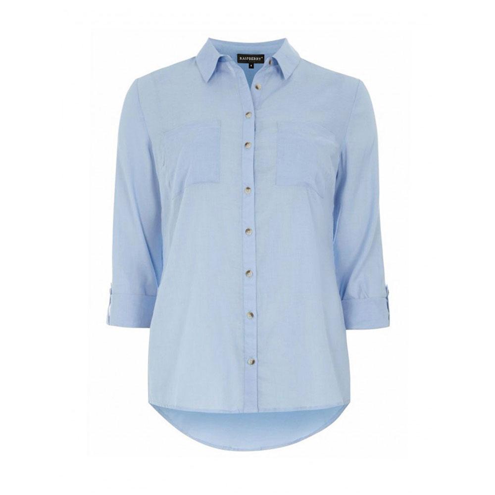 camasa bleu din bumbac cu buzunare