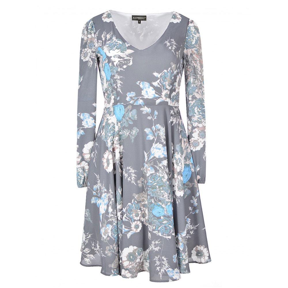 rochie gri inchis cu maneci lungi