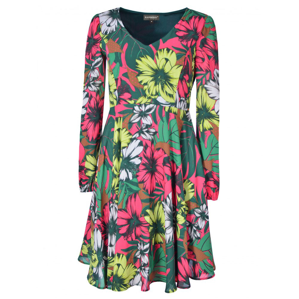 rochie multicolora florala cu maneci lungi
