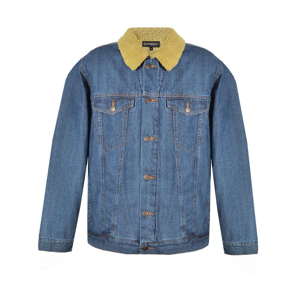 jacheta albastra denim cu guler blana