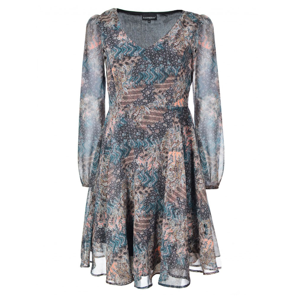 rochie cu maneci lungi multicolora