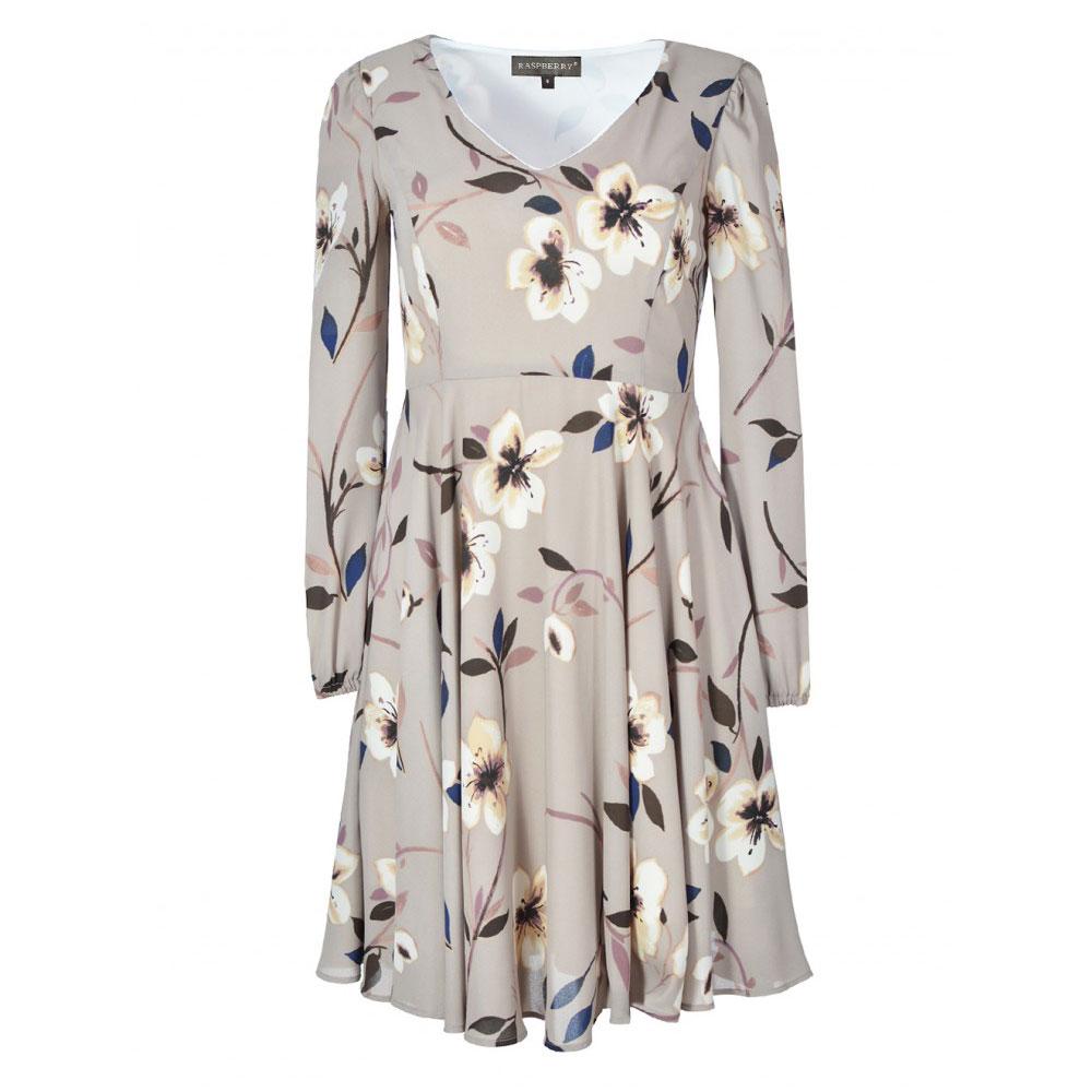 rochie florala cu maneci lungi