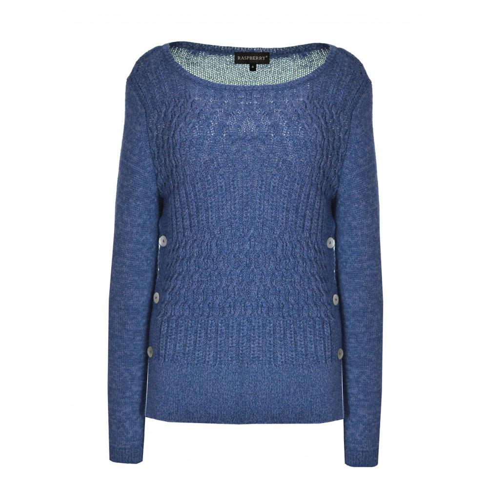pulover dama albastru cu ochiuri