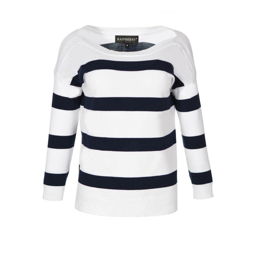 pulover alb cu dungi