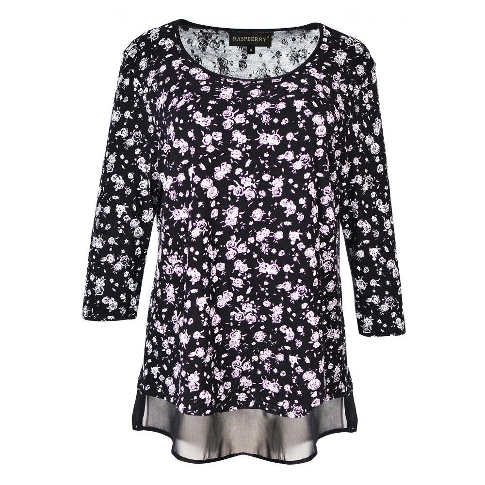 bluza neagra imprimata cu flori
