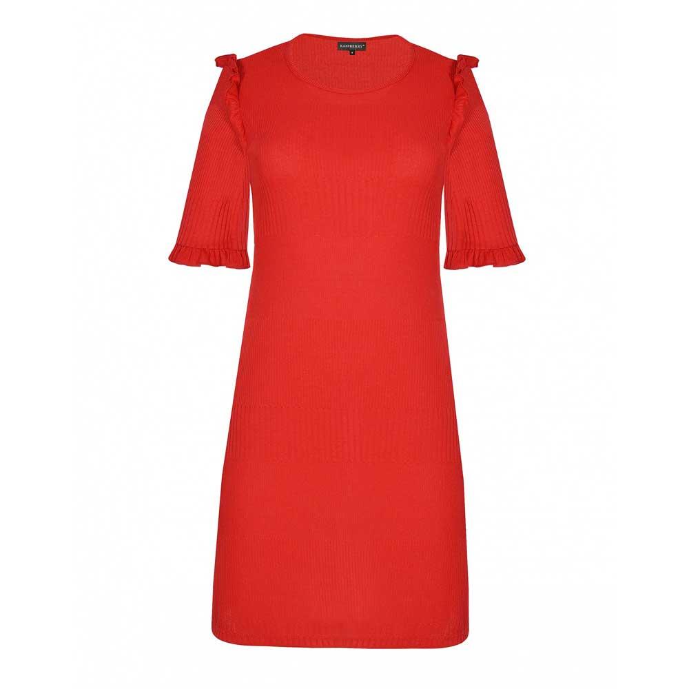 rochie rosie midi din tricot