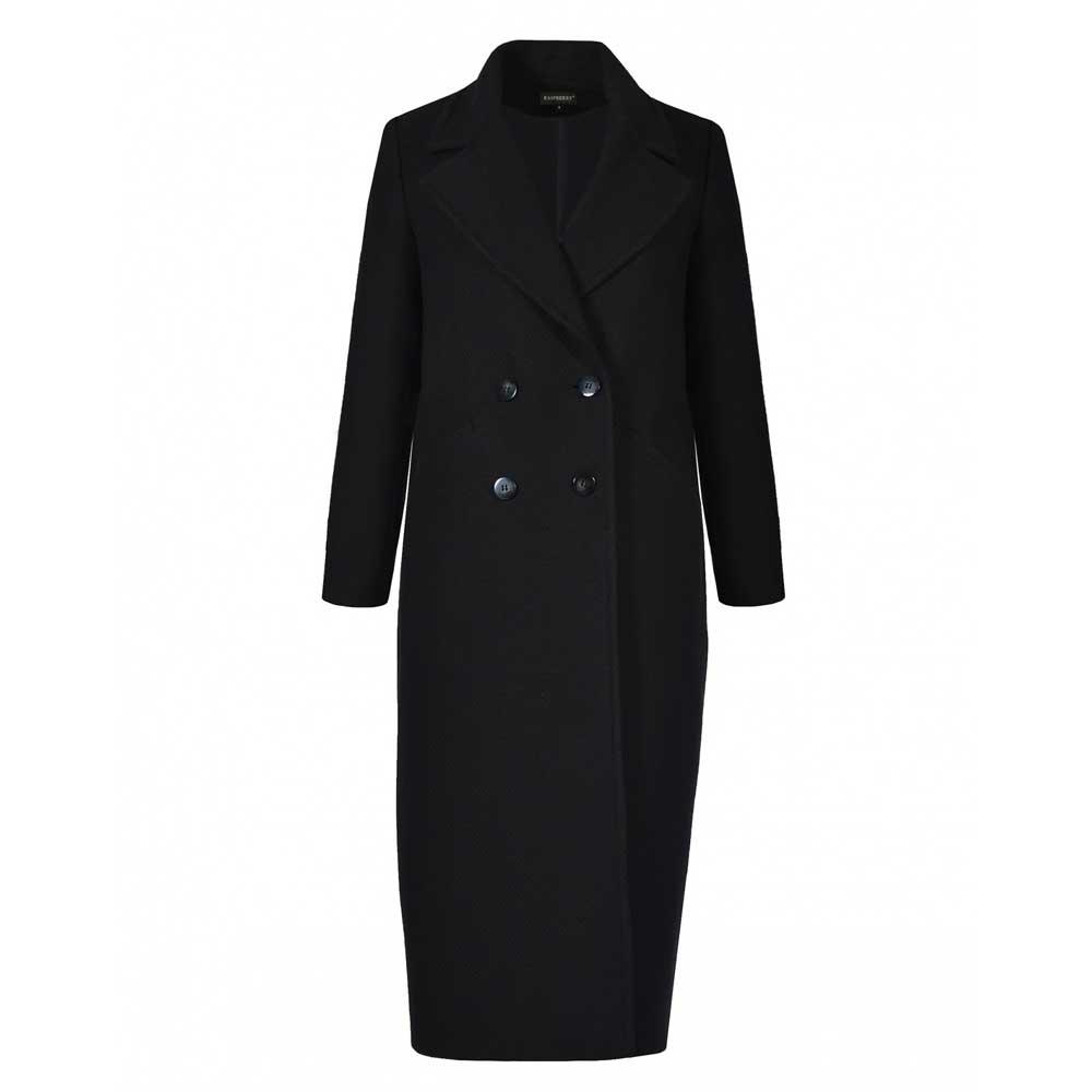 palton negru decoltat cu nasturi