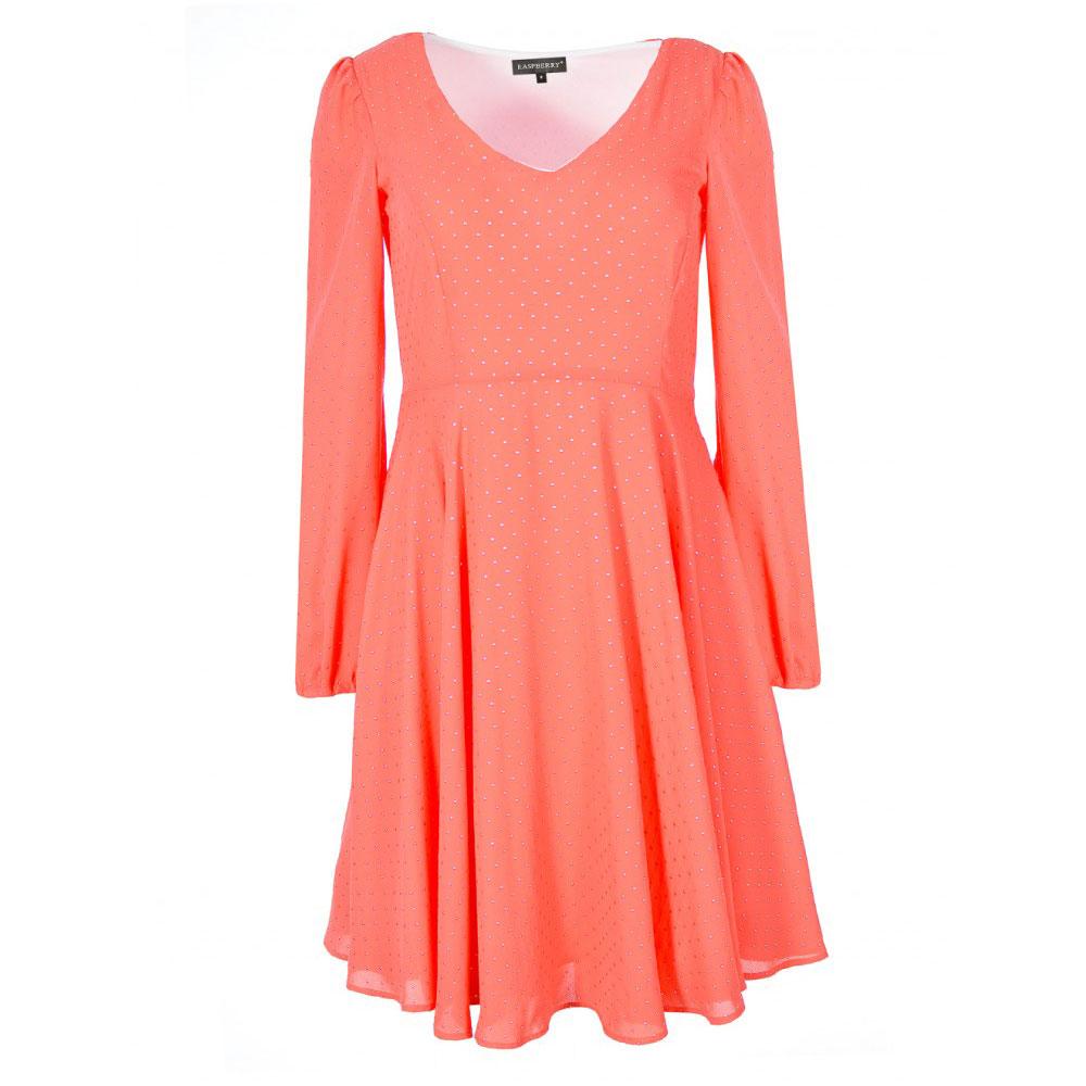 rochie orange cu maneci lungi