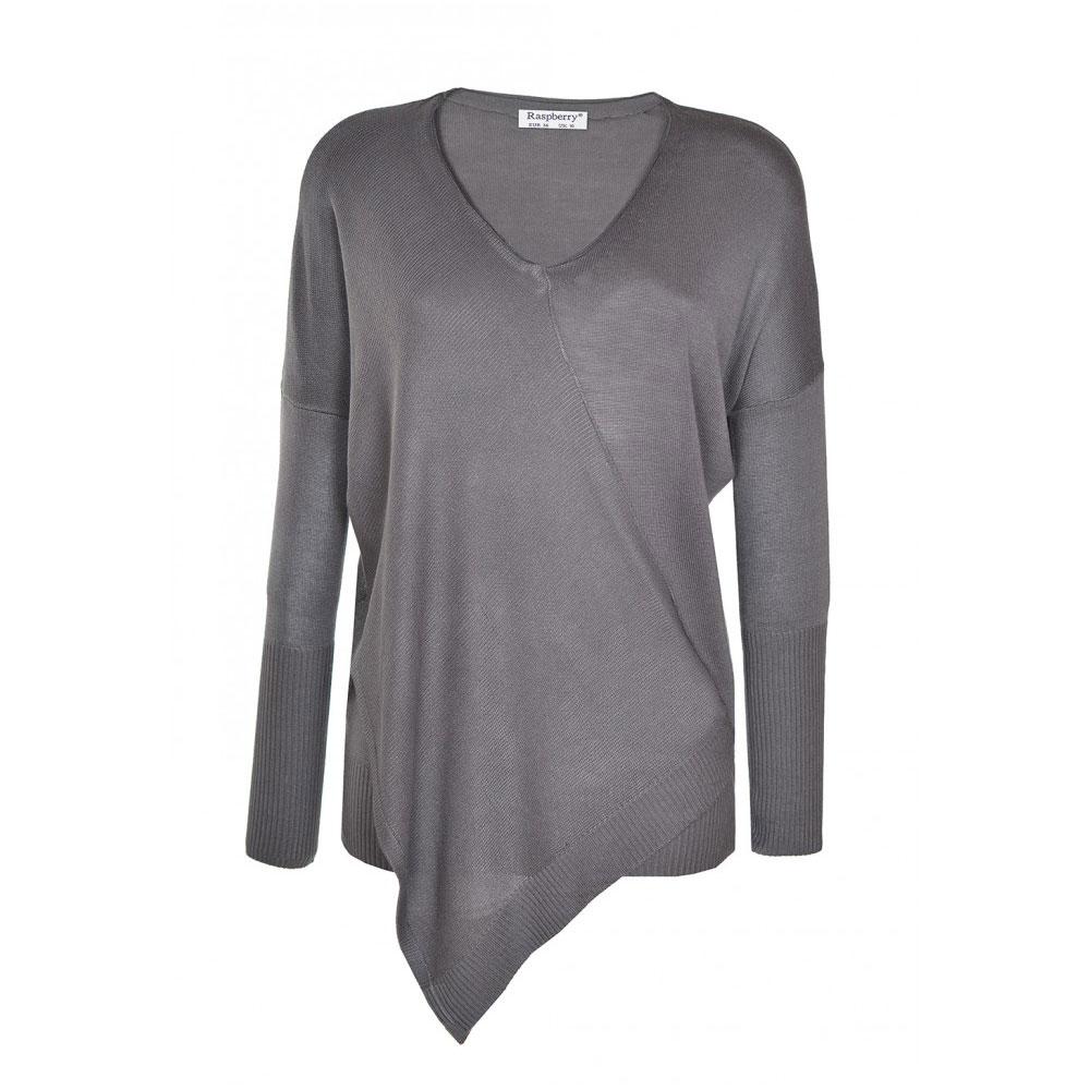 pulover asimetric gri