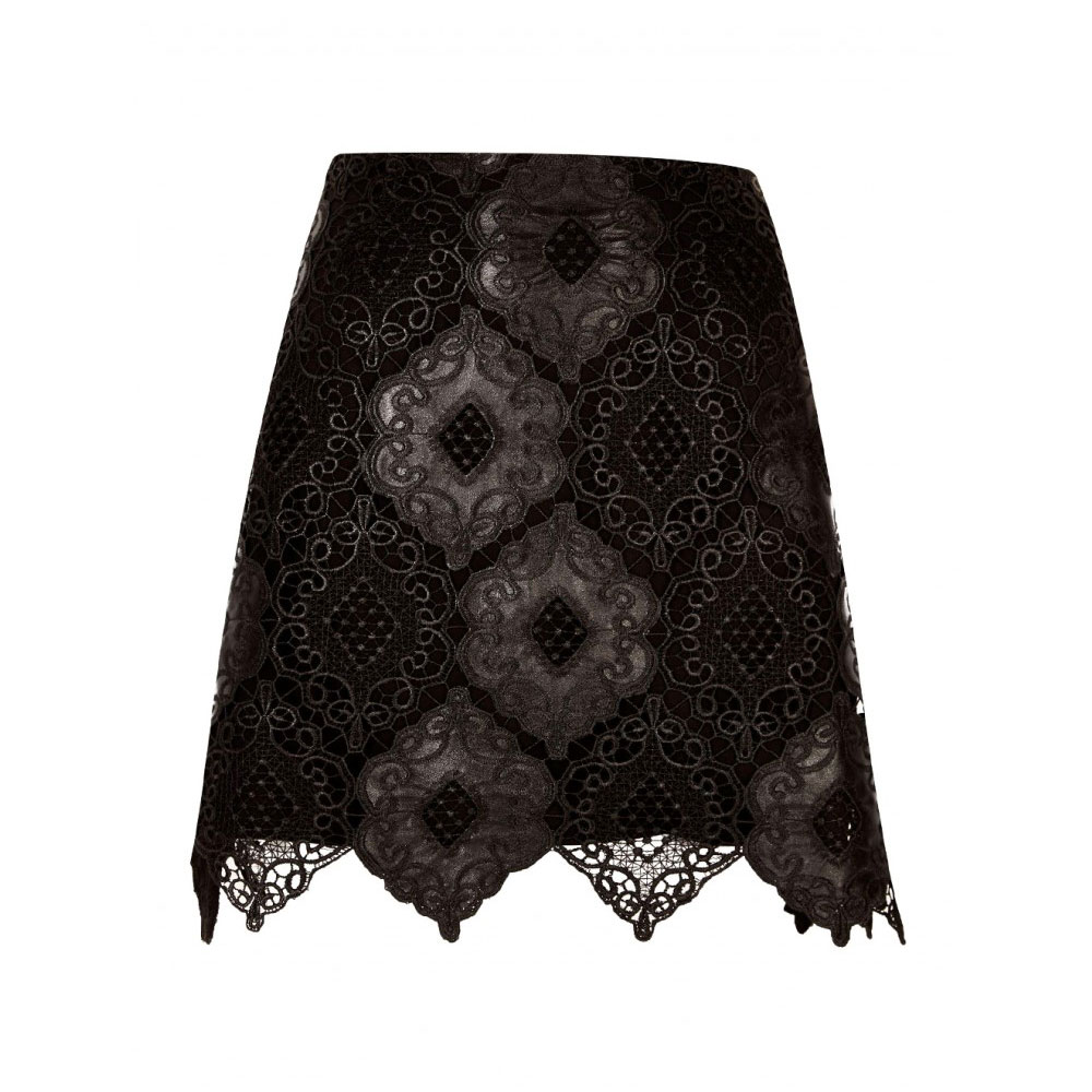 fusta mini neagra cu dantela