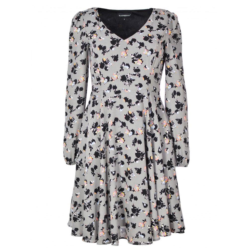 rochie gri cu maneci lungi florala
