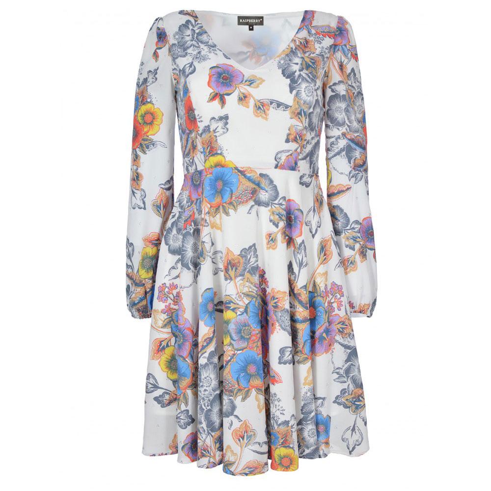rochie florala imprimata cu maneci lungi