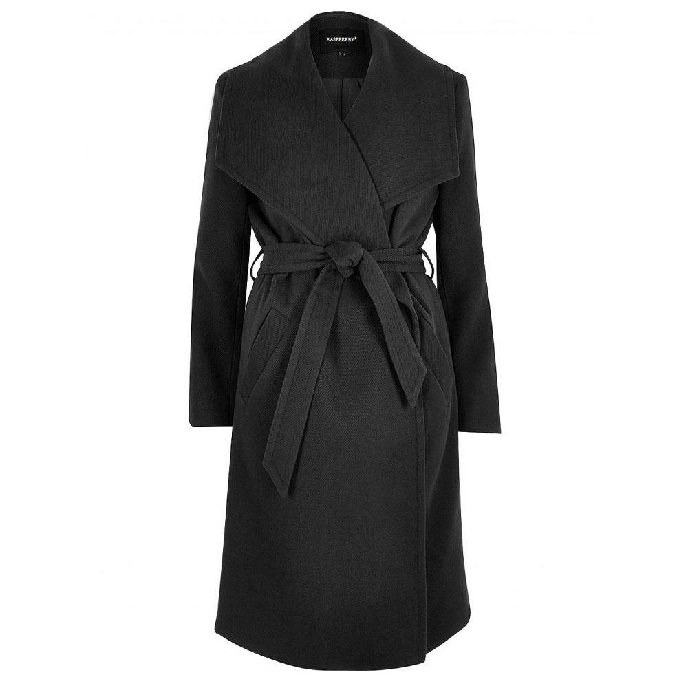 palton negru cu cordon