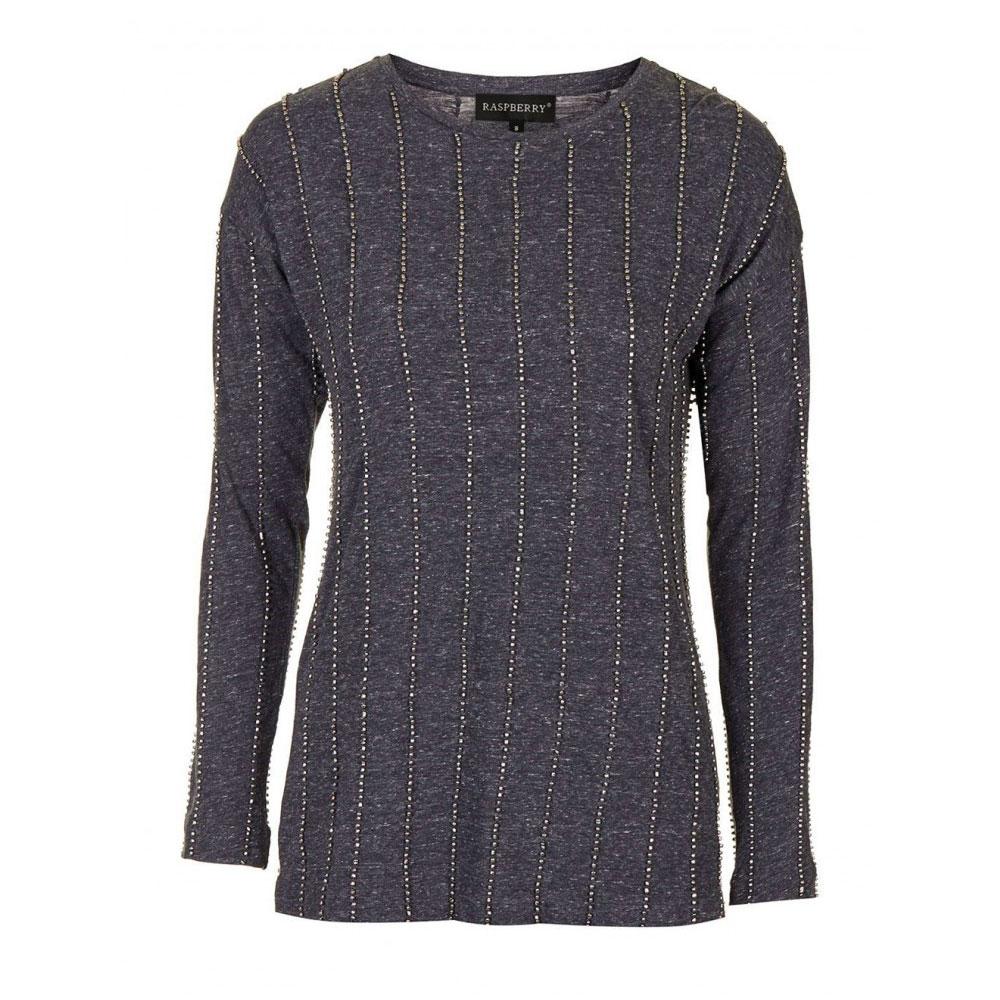 bluza gri cu dungute din margele