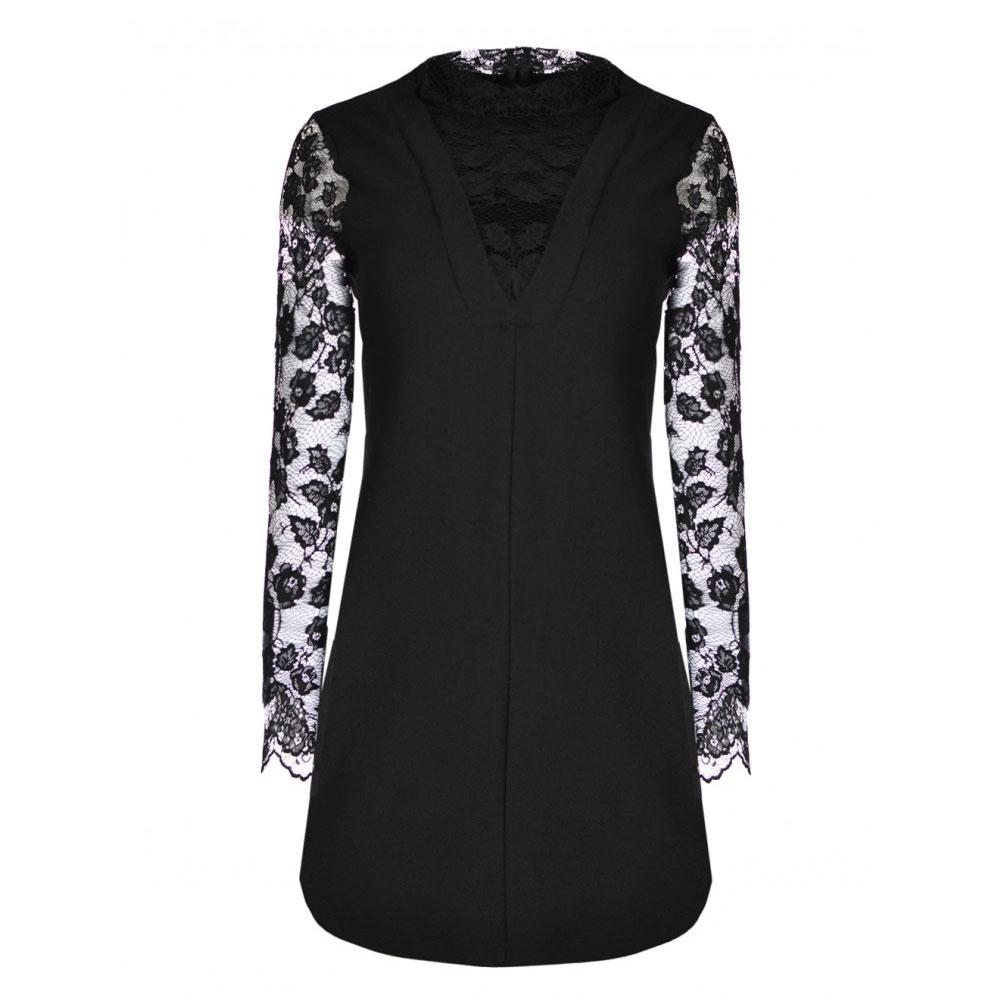 rochie neagra cu maneci si guler dantela
