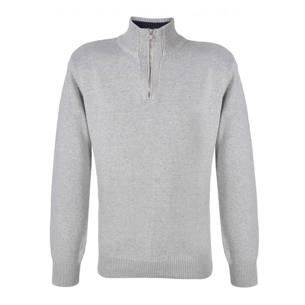 pulover gri cu fermoar la gat