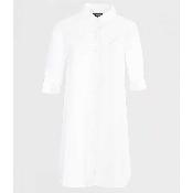 Rochie alba din bumbac cu maneci ajustabile