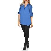 Bluza bleu cu maneci ajustabile