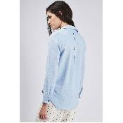 Camasa bleu din bumbac cu maneci lungi