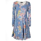 Rochie bleu florala cu maneci lungi