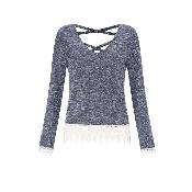 pulover albastru cu dantela