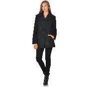 Palton dama negru cu nasturi