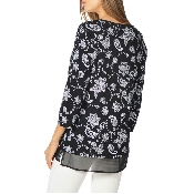 Bluza florala cu gat rotund