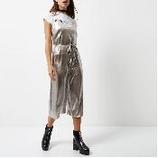 Salopeta pantalon argintie