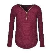 pulover cu fermoar grena