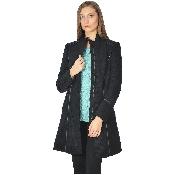 Palton negru cu guler tunica