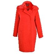 palton rosu guler blana
