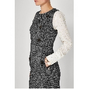 Rochie alb negru cu nasturi